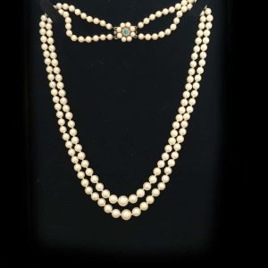 Vintage Cultured, Akoya, Saltwater 2 row Pearl necklace on 9ct gold zircon clasp