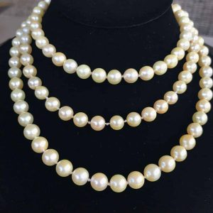 """Vintage Saltwater, cultured akoya pearl necklace 7.5 to 8mm, Length 46"""" / 117cm"""