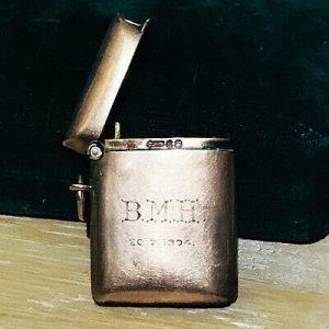 Edwardian 9ct Rose gold vesta case, match box, inscription B.M.H dated 20.7.1904