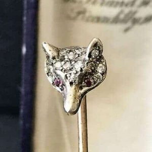 Edwardian Rose Gold & Silver Rose cut Diamond & Ruby eyed Fox head Stick pin