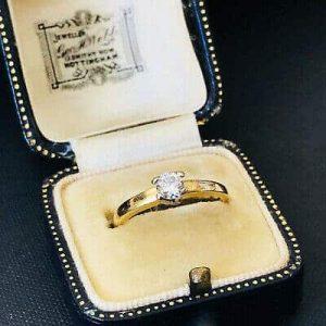 Vintage 18ct, 18k, 750 Gold Diamond 0.33ct VS1 G/H solitaire engagement ring