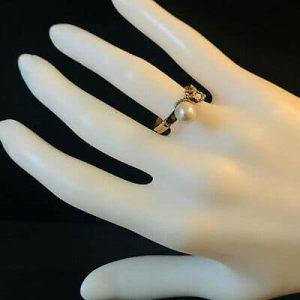 Rare, Art Nouveau Gold Pearl & Rose-cut Diamond acorn ring, Circa 1890
