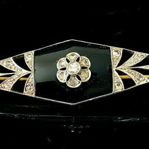 Art Deco, 18ct, 18k, 750 Gold & Platinum Diamond & Black Onyx pin, brooch, C1920