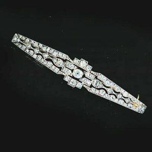 Fine, Art Deco 18ct, 18k, 750 Gold & Plat, Vari-cut Diamond 1.80ct brooch, C1915