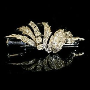 Fine, Art Deco Platinum PT950, Diamond 0.85ct cluster, spray brooch, Circa 1935
