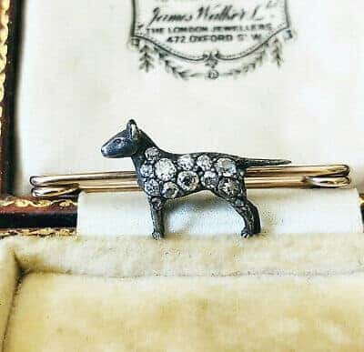 RARE, Fine Edwardian Gold & Silver Diamond standing dog, brooch pin, c1900
