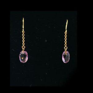 Antique, Beautiful Edwardian 9ct, 9k, 375 Gold Amethyst Drop Earrings, C 1905