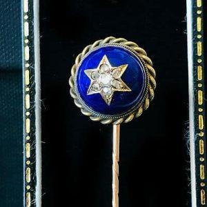 Victorian 9ct Gold Guilloche Enamel & Diamond star, Stick, tie, cravat lapel pin