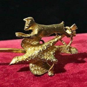 Rare, Victorian 15ct, 15k, 625 Gold pheasant & rabbit hunting, Stick, tie pin