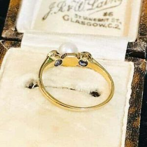 Art Deco, 14ct, 14k, 585 Gold Cultured Pearl & European-cut Diamond 0.20ct, ring