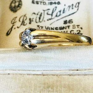 Victorian Gents 18ct, 18k, 750 Gold old-cut Diamond 0.36ct Gypsy ring, C1890