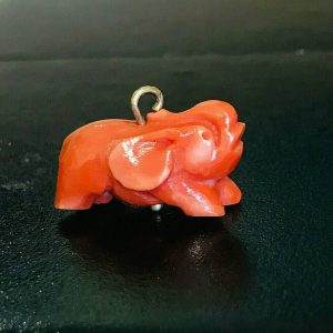Victorian 14ct, 14k, 585 gold Dark Red Coral carved Elephant Charm 3.1 gms