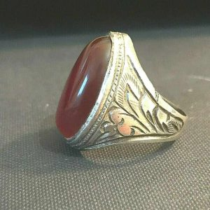 Gents heavy Silver Agate, Carnelian 19x28mm ring size: UK:  X / US: 11.5