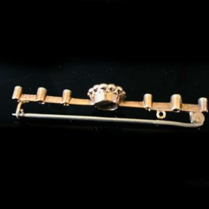 Exquisite Victorian 9ct Rose Gold mabe Pearl & diamond bar brooch, Circa 1860