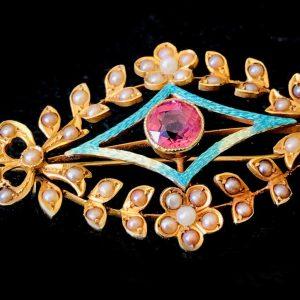 Art Nouveau 15ct Gold, Tourmaline, Enamel & pearl brooch