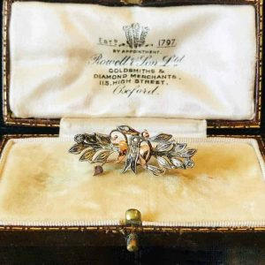 Vintage Portugese Rose Gold & Silver Diamond Swallow, Swift veil, brooch, pin