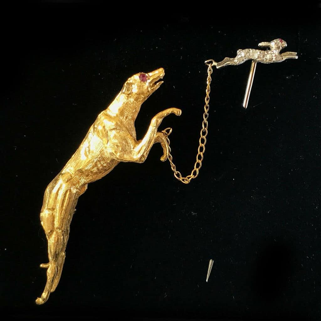 Vintage 9ct, 9k Gold Greyhound & Diamond Hare, Rabbit, bunny brooch and tie pin