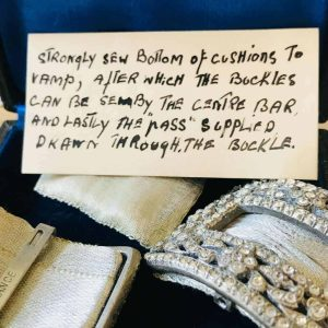 Antique, Exquisite pair of Georgian black dot paste buckles & case, card F Pinet