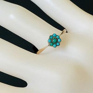 Art Deco 9ct, 9k, 375 Rose Gold, Turquoise daisy, cluster Ring, Circa 1935