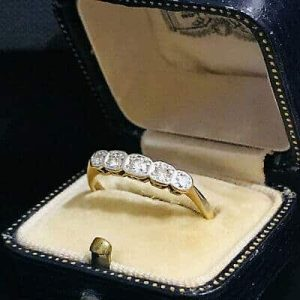 Art Deco 18ct, 18k, 750 Gold Diamond Five Stone engagement Ring by Maker b & h