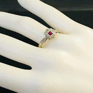 Fine, Art Deco 18ct, 18k, 750 Gold & Platinum Ruby & diamond cluster ring, C1920