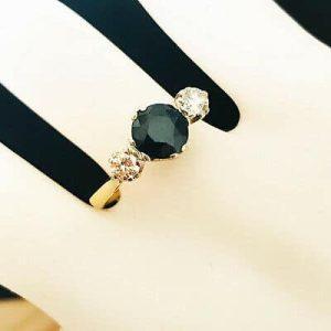 Vintage 18ct, 18k, 750 Gold Sapphire & Diamond engagement Ring, London 1968
