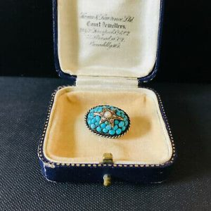 Fabulous, Victorian Silver & Gold Turquoise, Diamond & Pearl, star bombe brooch