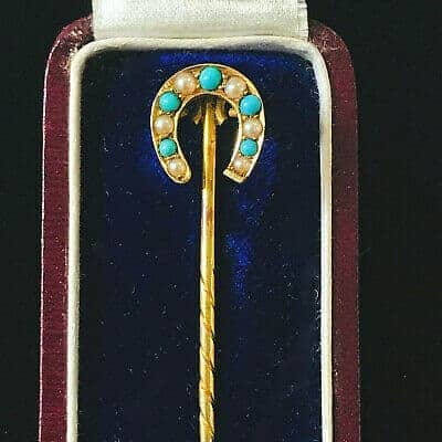 Victorian 15ct, 15k, 625 Gold Pearl & Turquoise stick, tie, cravat pin in box