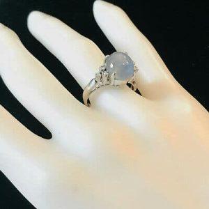 Stunning 18ct, 18k, 750 white Gold blue Star Sapphire & Diamond Cluster Ring