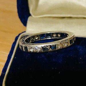 Art Deco Platinum Sapphire & Diamond full eternity Ring.  UK: M 1/2 USA: 6.75