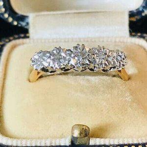 Vintage 18ct, 18k, 750 Gold Diamond 5 Stone engagement Ring, London 1968