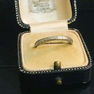 Antique, platinum Diamond 0.24ct eternity, anniversary Ring. Size UK: P / USA:8