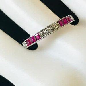 Fine, Art Deco 18ct white gold, calibre-cut Ruby & Diamond half eternity ring
