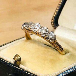 Edwardian 18ct, 18k, 750 Gold Diamond 1.15ct five stone engagement ring, C1910