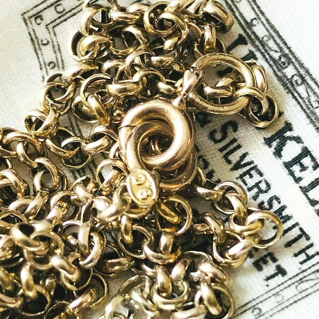 """Edwardian 9ct, 9k, 375 Rose Gold belcher link chain, necklace 20"""", 51cm, C1905"""