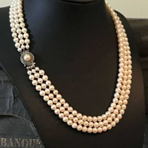 Quality, Cultured Saltwater Pearl Necklace in case, original receipt £405, C1980