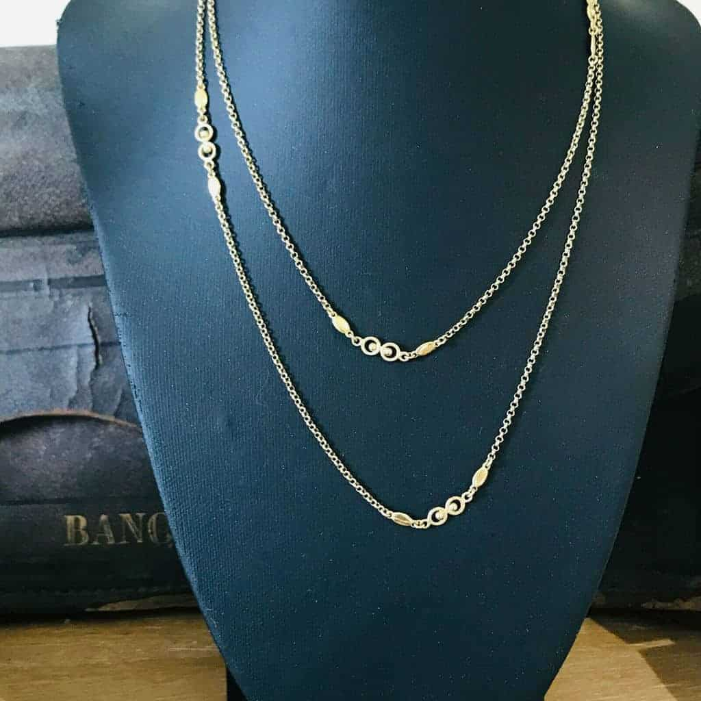 "Fine, Vintage 9ct, 9k, 375 Gold fancy link & Belcher chain, length 32"" / 81.5cm"