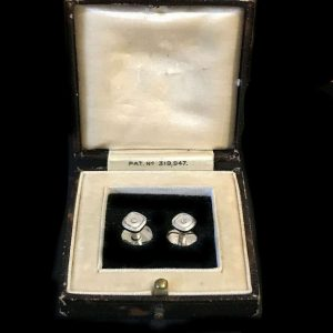 Art Deco, 9ct white gold mother of pearl and Diamond dress, shirt studs in box