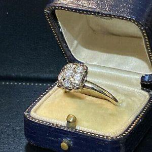 Vintage 14ct, 14k, 585 white Gold Diamond 0.55ct square cluster pave-set Ring