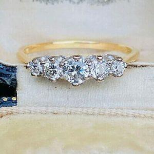 Antique Edwardian 18ct, 18k, 750 Gold & Platinum Diamond 0.59ct Five Stone Ring