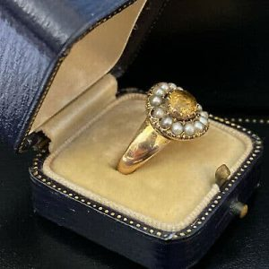 RESERVED - Antique Georgian 18ct, 18k, 750 Gold Topaz and Pearl cluster Ring, Circa 1830