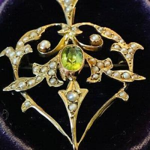 Art Nouveau 9ct, 9k, 375 gold Peridot and Pearl, heart brooch, pin & necklace