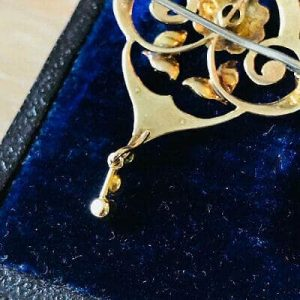 Fine, Art Nouveau 9ct, 9k, 375 Gold and seed pearl lavaliere, pendant & brooch