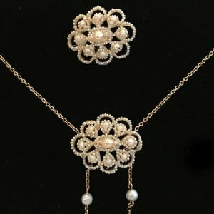 Gorgeous, Antique, Georgian natural basra seed pearl necklace and brooch, C1810