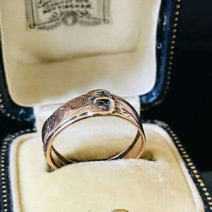 Early Victorian, 9ct, 9k, 375 Rose Gold engraved buckle ring. Dated 1848-49
