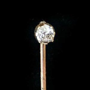 Victorian 18ct, 18k, 750 yellow Gold Diamond 0.20ct stick, tie pin, C1890