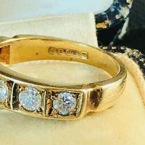 Fabulous, Vintage 18ct Gold Diamond 0.66ct Eternity, 6 stone Ring, London 1978
