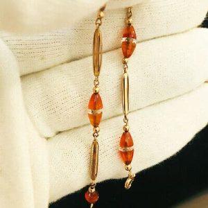 Fine, Art Deco, 9ct, 9k, 375 Rose Gold Carnelian & rock crystal bracelet, C1935