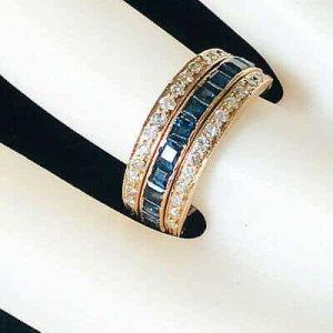 Gorgeous Art Deco style 18ct gold Emerald, Sapphire & Diamond day & night ring