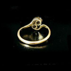 "Edwardian 18ct, 18k, 750 Gold Sapphire & Diamond ""Toi et Moi"" you and me Ring"
